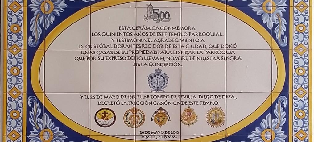 Azulejo conmemorativo V Centenario de la Parroquia