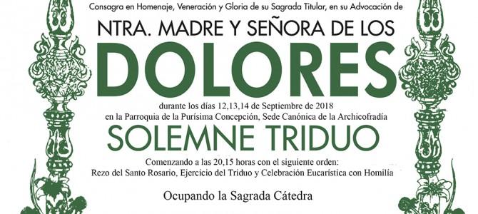Triduo a Nuestra Madre y Señora de los Dolores Coronada
